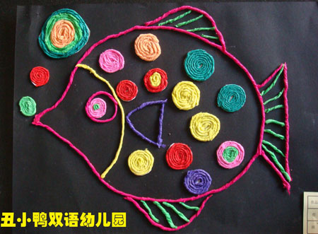 石家庄丑小鸭幼儿园皱纹纸贴画展