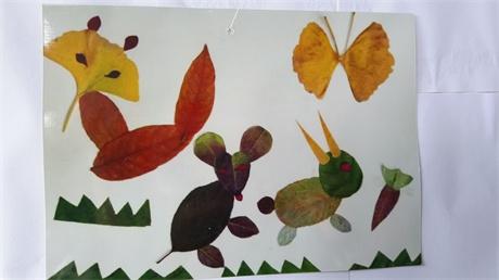 保定七中学子巧做树叶画-- 五彩校园