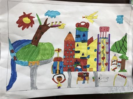 """低碳环保主题儿童画_唐山老谢庄小学""""低碳环保,绿色出行""""主题活动-- 五彩校园"""